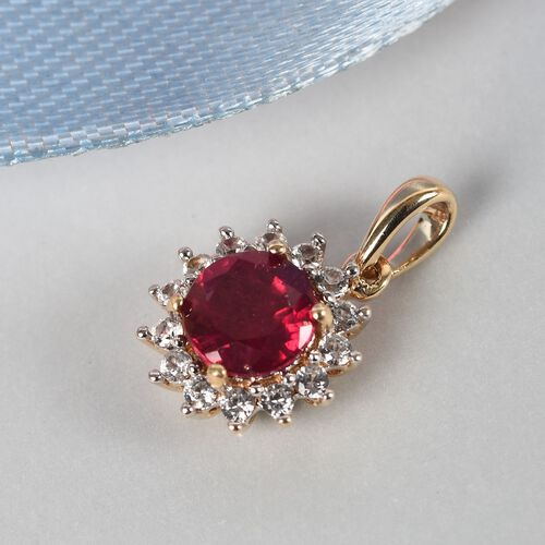 9K Yellow Gold AA African Ruby (Rnd), Natural Cambodian Zircon Halo Pendant 1.500 Ct.