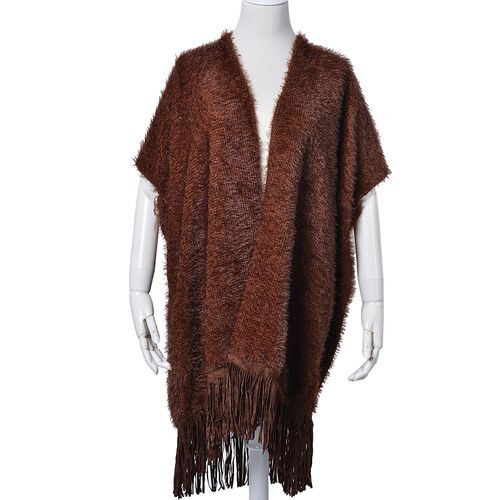 Chocolate Colour Cardigan with Fringes (Size 85x85 Cm)
