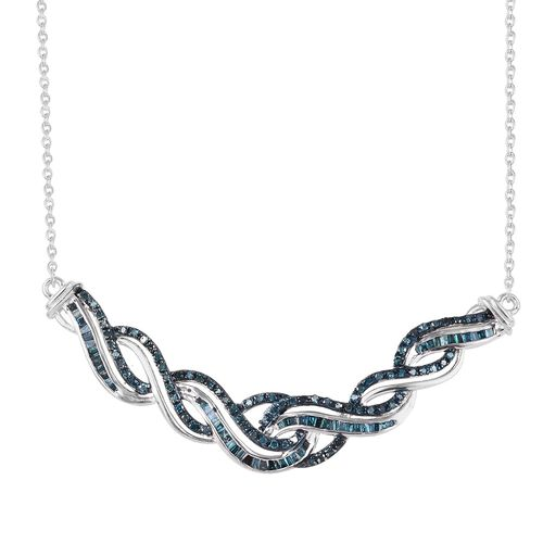 1 Ct Blue Diamond Wave Statement Necklace in Platinum Plated Silver 7.15 Grams 18 Inch