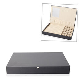 Croc Embossed Jewellery Box with Mirror Inside (Size 35x24x4.3 cm) - Black
