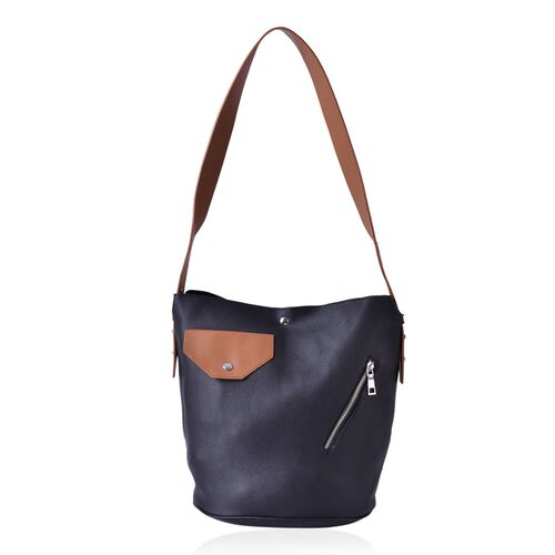 Black and Brown Colour Tote Bag with External Zipper Pocket and Shoulder Strap (Size 33x30x25x21.5 Cm)
