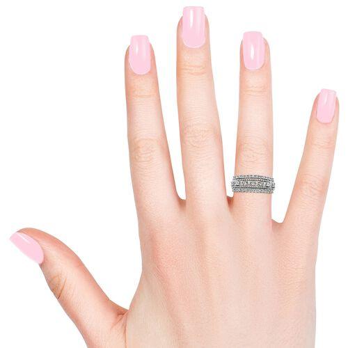 GP Diamond (Rnd and Bgt), Kanchanaburi Blue Sapphire Ring in Platinum Overlay Sterling Silver