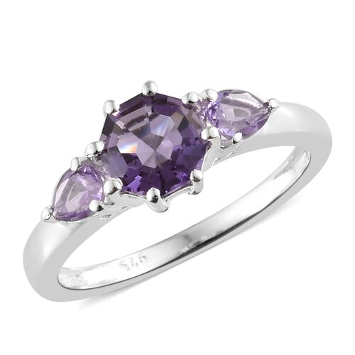 One Time Deal - Designer Inspired Octillion Cut Amethyst Ring in Sterling Silver 1.000 Ct.