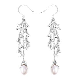 LucyQ Freshwater White Pearl Hook Drip Earrings in Rhodium Overlay Sterling Silver, Silver wt 14.42