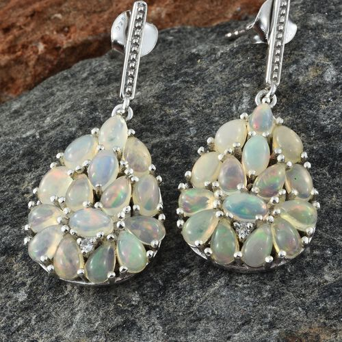 Ethiopian Welo Opal (Pear), Natural Cambodian Zircon Drop Earrings (with Push Back) in Platinum Overlay Sterling Silver 4.000 Ct.