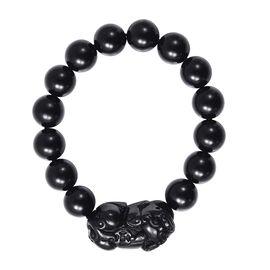 Black Obsidian Stretchable Beads Bracelet (Size 6.5) 211.05 Ct.