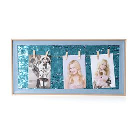 Photo Frame with Double Sided Sequin Background (Size 49x24 Cm) - Colour Blue Wood, Purple and Blue