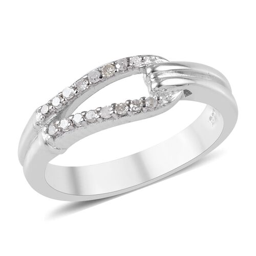 Diamond Ring in Platinum Overlay Sterling Silver 0.10 Ct.