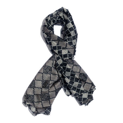 100% Mulberry Silk Black and White Colour Handscreen Geometric Fret Work Printed Scarf (Size 180x100