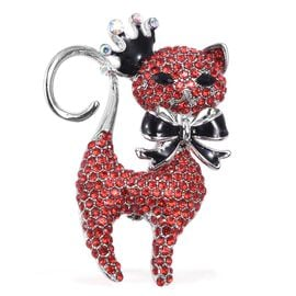 Red and White Austrian Crystal and Simulated Black Spinel Kitty Design Brooch with Enameled in Silve