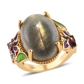 12.75 Ct Labradorite and Rhodolite Garnet Enamelled Classic Ring in Gold Plated Silver 6.59 Grams
