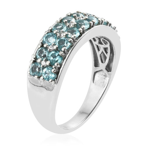 Paraiba Apatite (Rnd), Natural Cambodian Zircon Ring in Platinum Overlay Sterling Silver 2.750 Ct.