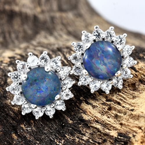 Australian Boulder Opal (Rnd), White Topaz Stud Earrings (with Push Back) in Platinum Overlay Sterling Silver 4.250 Ct.