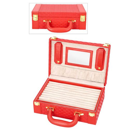 Red Colour Woven Pattern Briefcase Design Double Layer Jewellery Box with Mirror Inside (Size 27.5X1