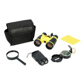 Binoculars, Flashlight, Compass, and Magnifying Glass