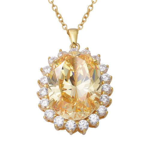 ELANZA Simulated Canary Yellow Diamond Halo Pendant with Chain in Sterling Silver 18.70 Grams