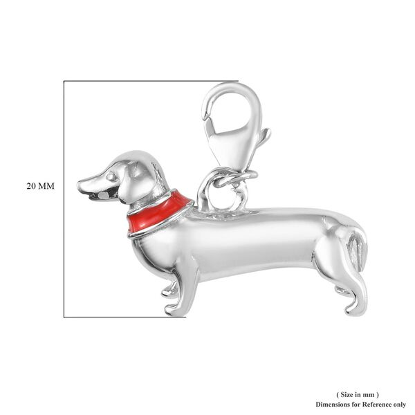Platinum Overlay Sterling Silver Dog Charm
