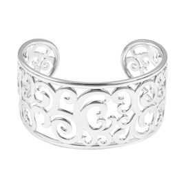 LucyQ Ocean Wave Design Cuff Bangle (Size 7.5) in Rhodium Overlay Sterling Silver, Silver wt 51.00 G
