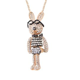 Multi Colour Austrian Crystal Enamelled Bunny Pendant with Chain (Size 29 with 3 inch Extender) in Y