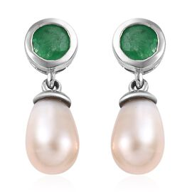 Fresh Water Pearl (5.35 Ct),Kagem Zambian Emerald Platinum Overlay Sterling Silver Earring  6.000  C