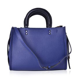 Blue and Black Colour Tote Bag with Adjustable and Removable Shoulder Strap (Size 31x25x13 Cm)