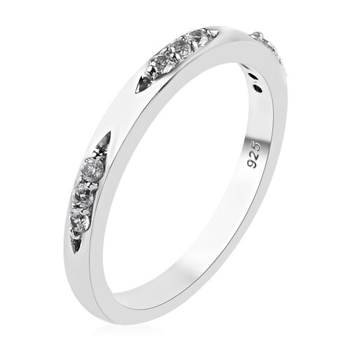 Natural Cambodian Zircon (Rnd) Band Ring in Platinum Overlay Sterling Silver 0.200 Ct.