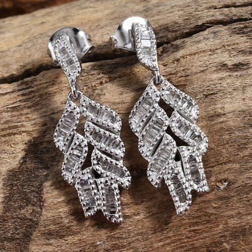 GP- Energy of Life Collection- Diamond (Bgt) Blue Sapphire Feather Earrings (with Push Back) in Platinum Overlay Sterling Silver 0.560 Ct.