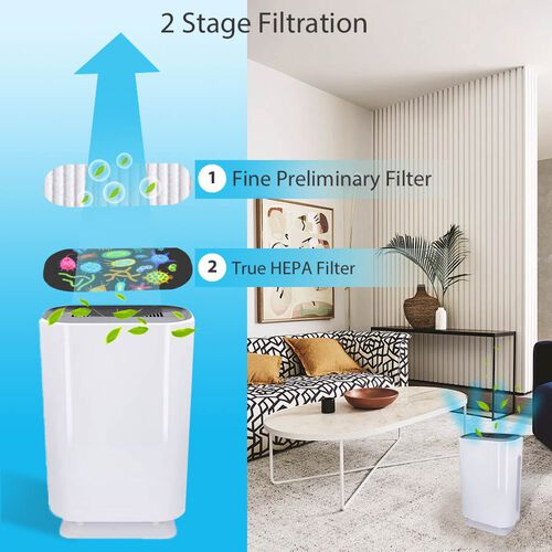 Multifunctional Home Air Purifier With HEPA Filter + Activated Carbon Filter with Remote Control (Size 33x22x50.5 Cm) - White