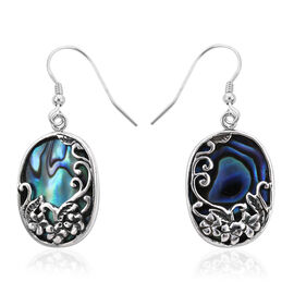 Royal Bali Collection - Abalone Shell Floral Hook Earrings in Sterling Silver, Silver wt 3.51 Gms
