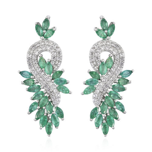 7 Ct Zambian Emerald and Cambodian Zircon Drop Earring in Sterling Silver 8.33 Grams With Push Back