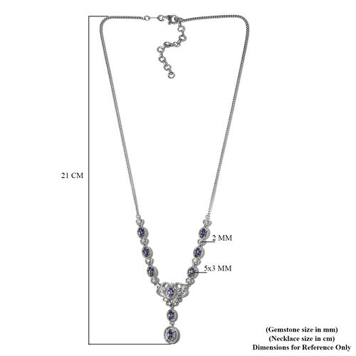 Monster Deal - Tanzanite and Natural Cambodian Zircon Necklace (Size 18) in Platinum Overlay Sterling Silver 2.06 Ct, Silver wt. 7.50 Gms