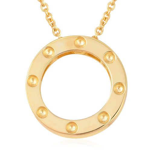 RACHEL GALLEY Majestic Collection Burmese Ruby (Rnd) Circle Pendant With Chain (Size 30) in Yellow G