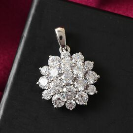 J Francis Platinum Overlay Sterling Silver Cluster Pendant Made with SWAROVSKI ZIRCONIA 7.35 Ct.