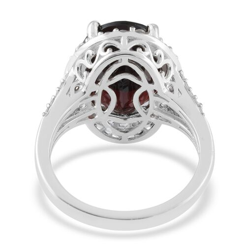 Mozambique Garnet (Ovl 16x12 mm), Natural Cambodian Zircon Ring in Platinum Overlay Sterling Silver 13.15 Ct, Silver wt 5.00 Gms