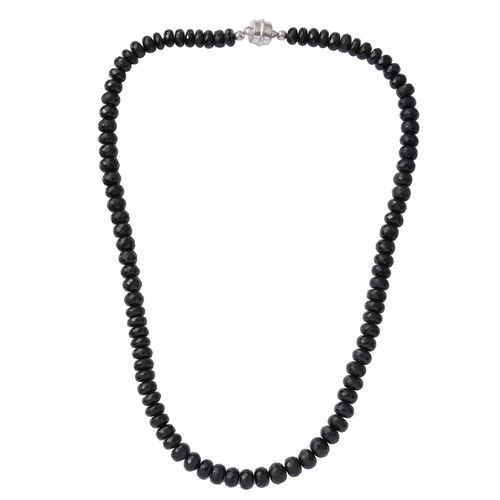 325.68 Ct Midnight Tourmaline Beaded Necklace with Magnetic Clasp in Platinum Plated Silver 20 Inch