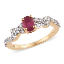 African Ruby (Ovl), Natural Cambodian Zircon Ring in 14K Gold Overlay with Silver Plating Sterling S