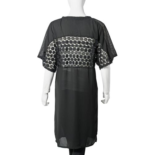 Black Colour Woven lace Cardigan (Size S)