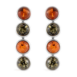Multi Colour Baltic Amber (Rnd) Earrings (with Push Back) in Sterling Silver, Silver wt 10.00 Gms