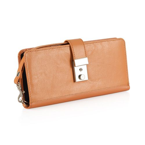 100% Genuine Leather Dark Orange Colour RFID Blocker Women Wallet (Size 20x10 Cm)
