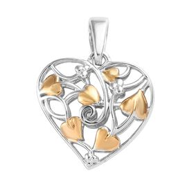 Platinum and Yellow Gold Overlay Sterling Silver Heart Pendant, Silver wt 3.69 Gms