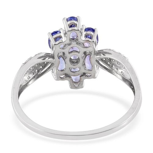 9K W Gold Tanzanite (Ovl), Natural Cambodian Zircon Ring 2.000 Ct.