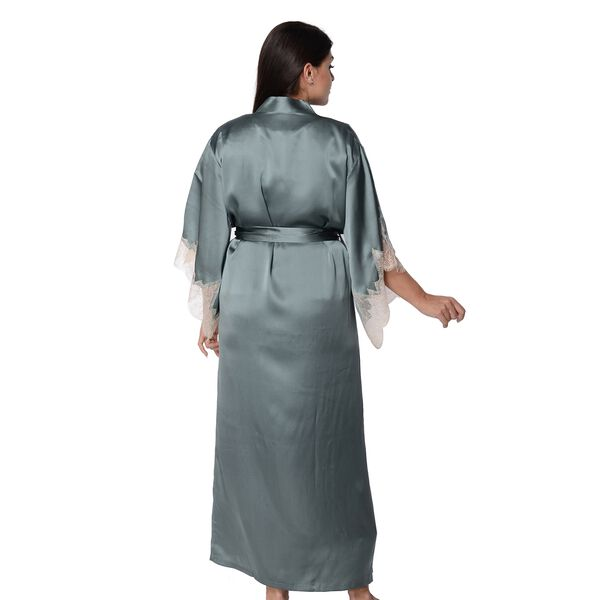 Super Auction- 100% Mulberry Silk Long Robe with Kimono Style Sleeves with Lace  in Gift Box (Size S-M / 10-12) - Teal
