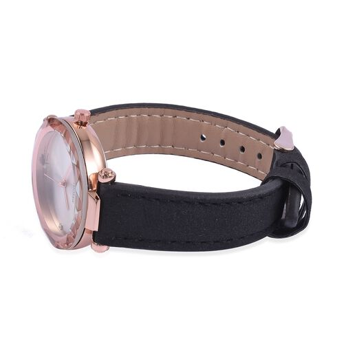Diamond Studded GENOA Japanese Movement Sunshine Dial Water Resistant Watch in Rose Gold Tone with Black Strap