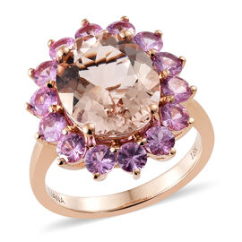 ILIANA 18K Rose Gold AAA Moroppino Morganite (Ovl 12x10 mm), AAA Madagascar Pink Sapphire Ring  6.150  Ct.