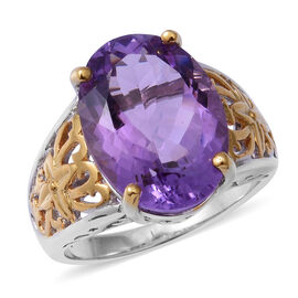 11.54 Ct Rose De France Amethyst Solitaire Ring in Rhodium and Gold Plated Silver 6.60 Grams