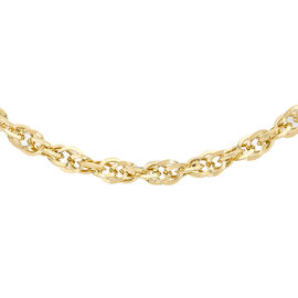 Hatton Garden Close Out Deal- Italian Made 9K Yellow Gold Diamond Cut Prince of Wales Necklace (Size