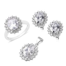 3 Piece Set- Simulated White Diamond (Ovl and Rnd) Pendant, Ring and Stud Earrings (with Push Back)