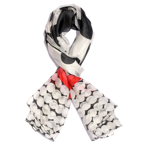 100% Mulberry Silk Black, Off White and Multi Colour Handscreen Polka Dots Printed Scarf (Size 180X1