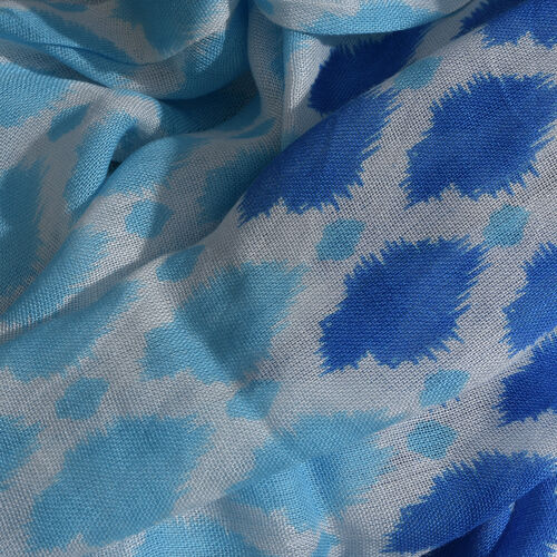 White, Light and Dark Blue Colour Grid Printed Scarf with Fringes (Size 180X70 Cm)