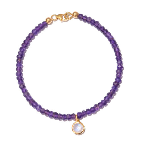 Amethyst (Rnd), Rainbow Moonstone Bracelet (Size 7.5) with Circle Charm in Yellow Gold Overlay Sterling Silver 13.600 Ct.